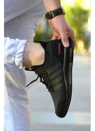 Oksit Cnpt Fane Bant Detaylı Kalın Rahat Taban Sneaker Siyah